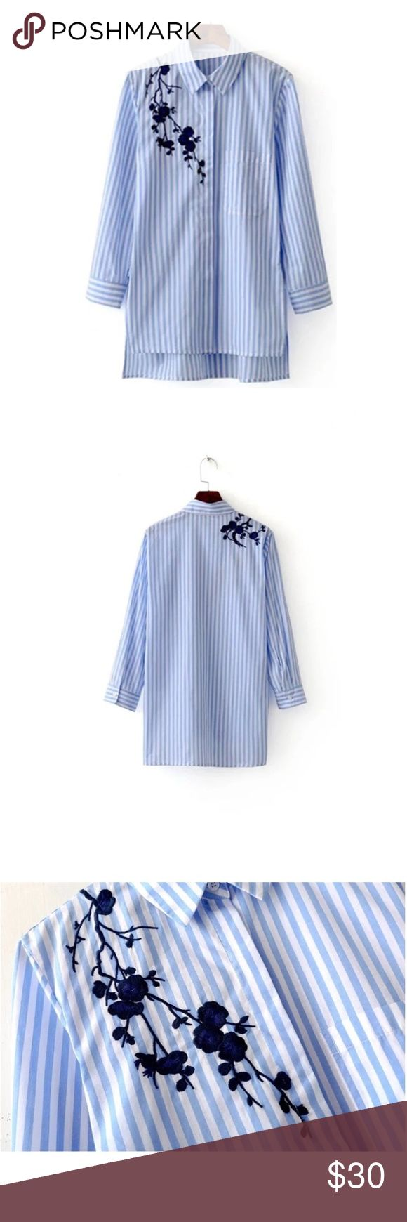 Embroidered Blouse CottonStripe Long Sleeve Shirt Women Embroidered Blouses Cotton Blue Striped Long Sleeve Shirt Turn-down Collar Tops