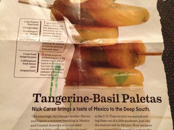 Tangerine-Basil Paletas Recipe from King of Pops in ATL