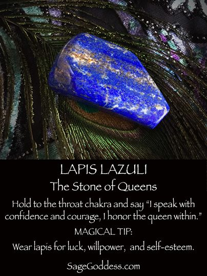 °Lapis Lazuli is the stone of queens. Wear or place on your altar for confidence, selfesteem & goodluck. SageGoddes