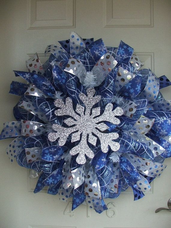 Christmas Winter Blue and Silver Snowflake Mesh Ribbon Wreath by TowerDoorDecor, $50.00