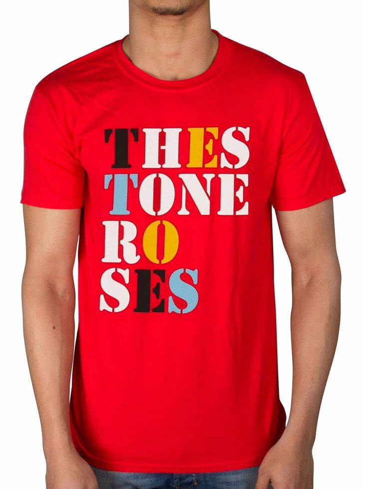 Official The Stone Roses Font Logo T-Shirt One Love Red Pearl Bastard *All Sizes Fashion T Shirts Summer Straight 100% Cotton