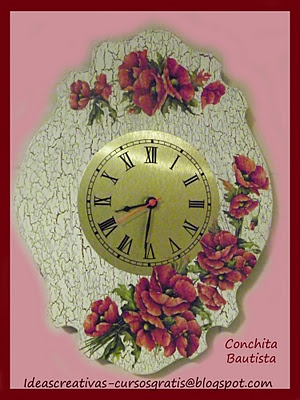 * Ideas Creativas Alyss *: Reloj con Amapolas en Decoupage with Calambour Paper
