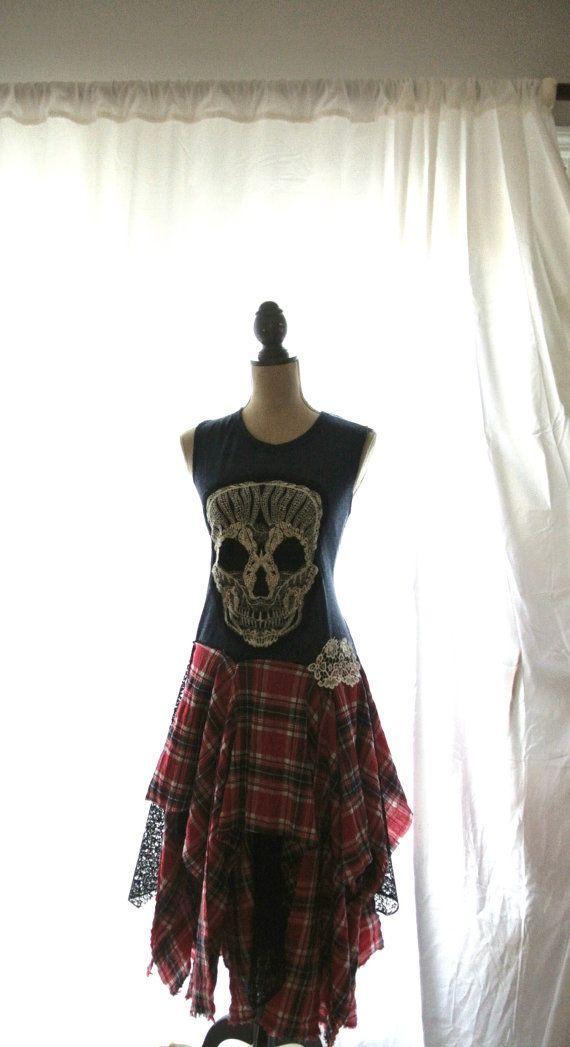 Punk dress fall tartan plaid RESERVED rock by TrueRebelClothing - perfection on a dressform!