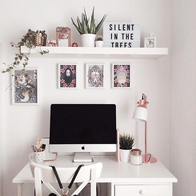 ♡pinterest :ashshila // home, office, mac, apple, plain, simple, pink,work