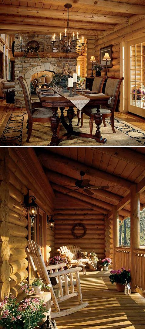 Gorgeous log home - perfect porch.     I would love to live in this house!