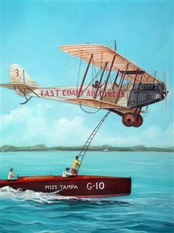 (360×480)Мэйбл Коди.  1927 гастролер Мэйбл Коди climed с аквапланировал на самолет Тампа-Бэй, Флорида