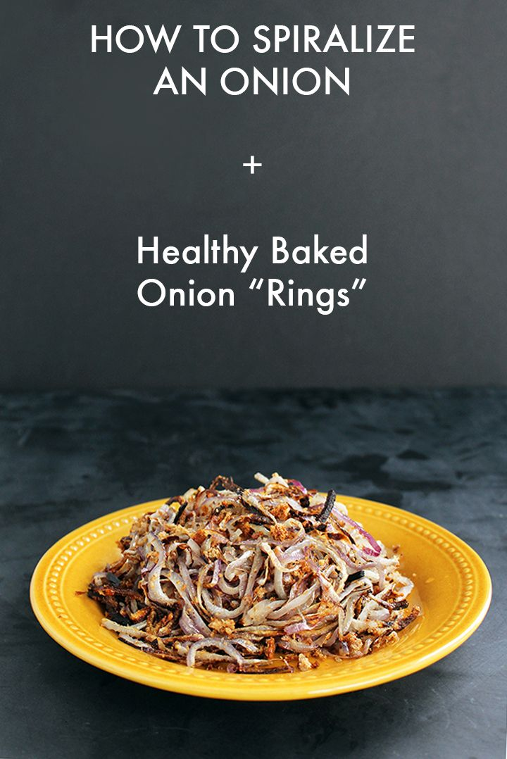 How to Spiralize an Onion - & Healthy Baked Onion Rings