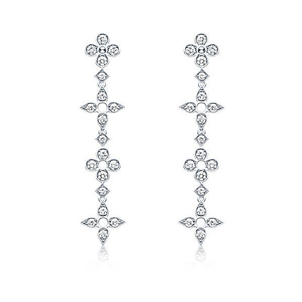 Dentelle de diamants long earrings, white gold and diamonds ($11,200) ❤ liked on Polyvore featuring jewelry, earrings, braid jewelry, long diamond earrings, monogram earrings, diamond jewelry and white gold diamond earrings