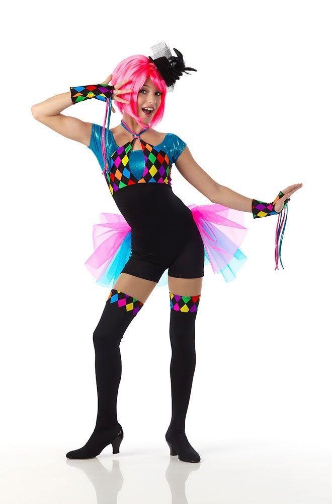 Time Warp Dance Costume Unitard Mitts Leggings Circus Jester Child