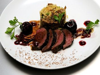 loin-of-elk-with-cherry-beer-sauce-and-mushroom-couscous