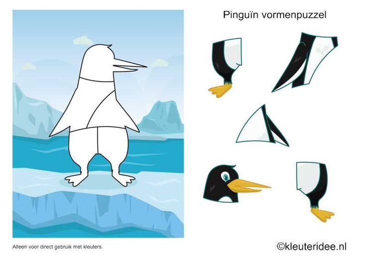 Vormenpuzzel pinguin, kleuteridee.nl , thema Noordpool en Zuidpool, penguin puzzle , free printable.