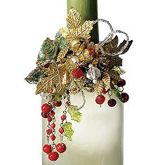 Wine Bottle Jewelry - Start with one or two Christmas picks and attach to a plain napkin ring or  some wire. Add some beads or beaded garland.
