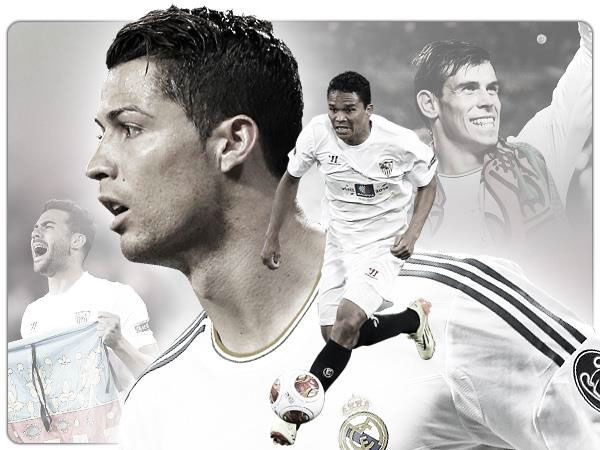 UEFA SuperCup 2014, Cardiff City Stadium: Real Madrid v Sevilla. Artwork used to promote and sell tickets in the UK featuring Cristiano Ronaldo and Gareth Bale