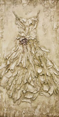 Rachel Schwind - Her Dress - Plaster & Acrylic on Panel - 47in. x 24 in. - sold