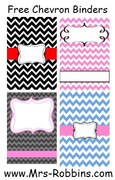 Mrs. Robbins' 2nd Grade: Free Chevron Binder Covers