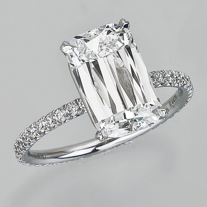 Brides.com: Celebrity Engagement Rings and Wedding Bands. Reese Witherspoon's Engagement Ring. The petite actress wears this Ashoka diamond (marked by its rectangular shape with rounded edges and 62 facet display) ring by William Goldberg.   See more emerald-cut engagement rings.