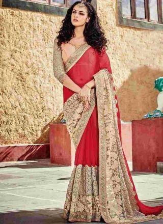Magenta Pink Embroidery Work Net Georgette Designer  Wedding Sarees http://www.angelnx.com/Sareeshttp://www.angelnx.com/Sarees
