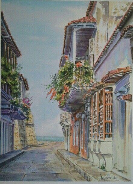 Gerardo Vejarano T. ~ Cartagena - Acuarela