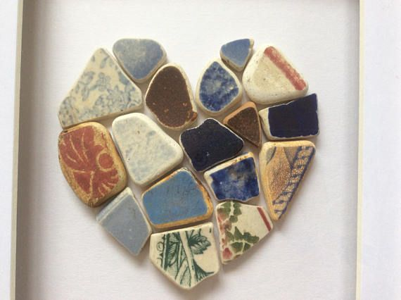 Beach pottery love heart broken pottery mosaic beach art