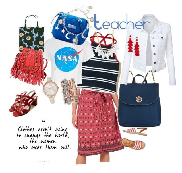 """Teacher Workday"" by mary-briden-mccombs on Polyvore featuring Fat Face, n.d.c., Hollister Co., Marimekko, INC International Concepts, Jessica Carlyle, Tommy Hilfiger, Marc Jacobs, LE3NO and BaubleBar"