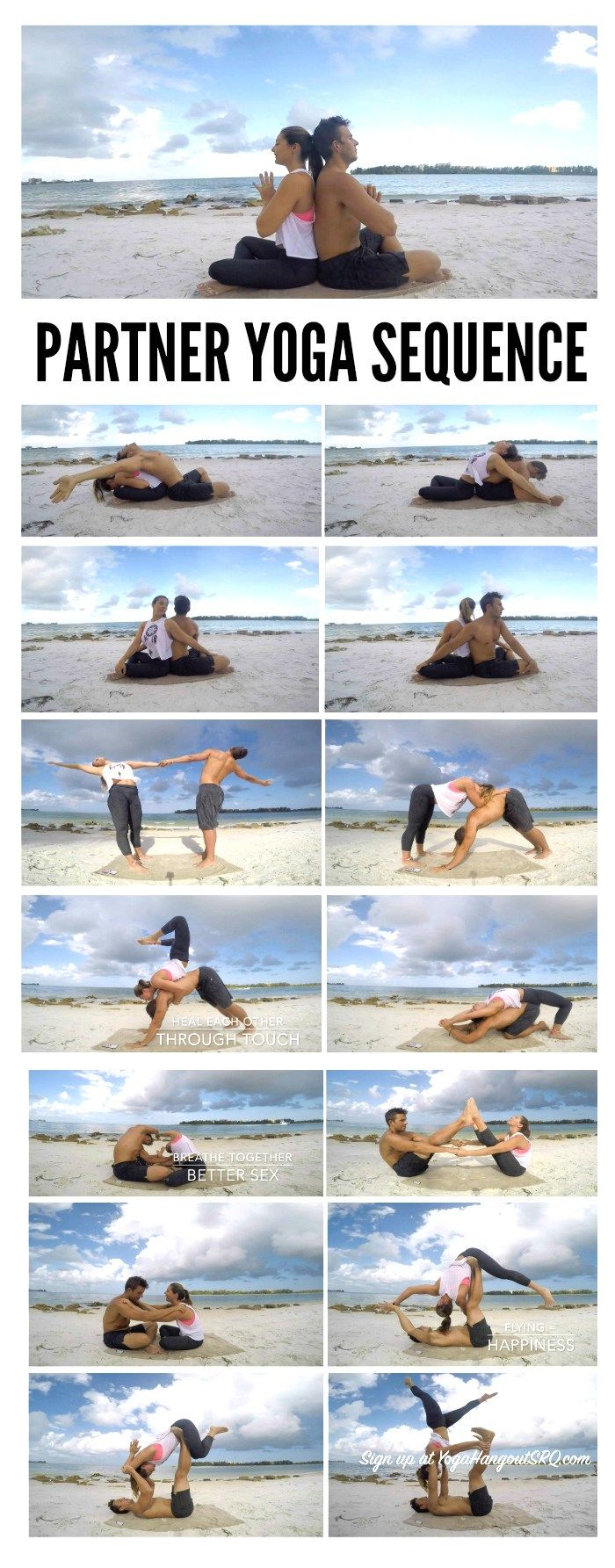 Couple's Partner Yoga Sequence with Margie and Bryant in Sarasota Florida - Tap the pin if you love super heroes too! Cause guess what? you will LOVE these super hero fitness shirts!