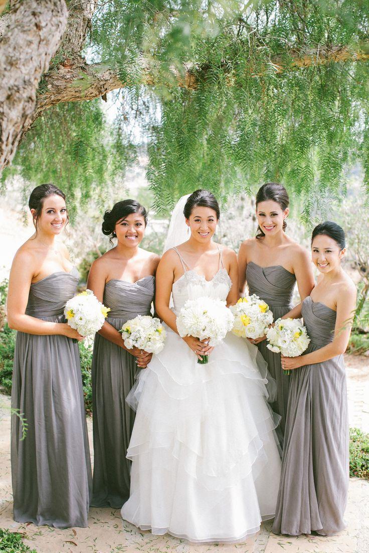 Christmas wedding dress jcrew - Malibu Wedding At Rancho Del Cielo J Crew Bridesmaid Dressesgray