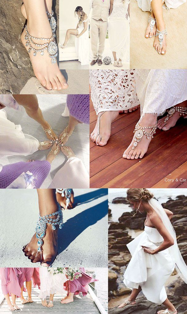 Enchanted barefoot sandals by Forever Soles. Boho foot jewelry for the barefoot bride. Perfect beach wedding shoes! Shop now at www.foreversoles.com