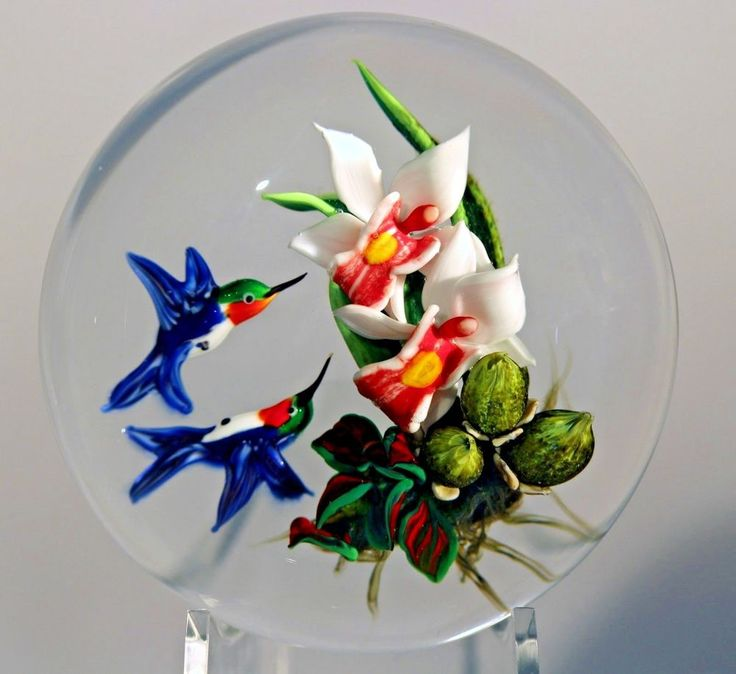 "Magnum RICK AYOTTE Artist's Proof Feeding HUMMINGBIRDS on blooming Flowers Art-GLASS Paperweight | Signed on side of dome ""Rick Ayotte AP/1 2001"" - Approx D's:.3.6""dia x 2.4""high #Ayotte 