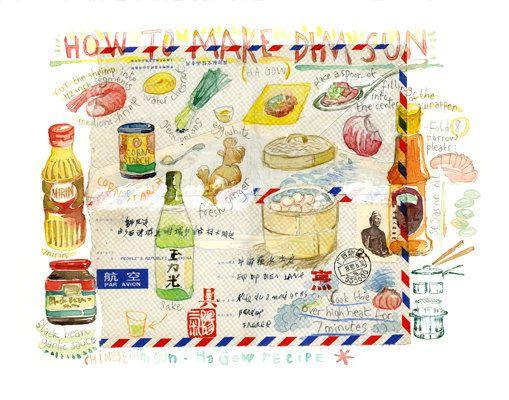 Comment faire des Dim Sun, Recette illustrée, aquarelle, affiche cuisine, cuisine asiatique, chinoise