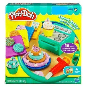"""Play-doh Sweet Bakin Creations by Hasbro. $33.62. 16 pieces to shape & bake Play-doh treats. For ages 3 years and up. Create your favorite sweet. Fun for everybody. Includes four 3oz cans of Play-doh. """"Bake"""" Play-Doh cupcakes, cookies, cakes and any other """"sweet treat"""" you can imagine! Then decorate them with colorful """"icing""""! Fun to play not to eat."""