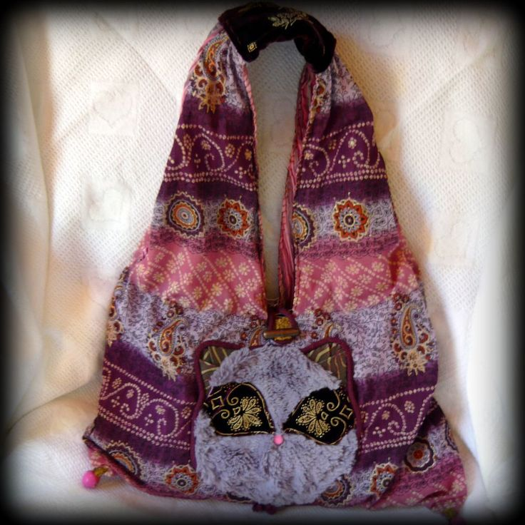 Handmade by Judy Majoros- Boho bag with Faux fur cat . Recycled handbag.