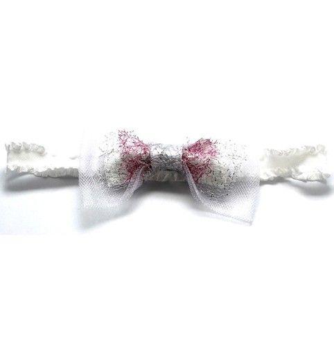 Az egyedi, kézzel készült, négy rétegű, gyönyörű masnis harisnyakötő fehér tüll, fehér szatén, és 2 réteg (ezüst és rózsaszín) hálós, finoma...