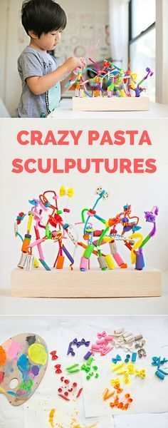 Make Crazy Pasta Sculptures! A fun art and building project for kids that also…
