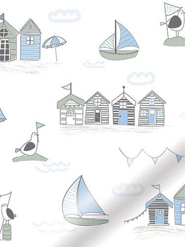 Splash Beach Hut Blue Roller Blind from Blinds 2go