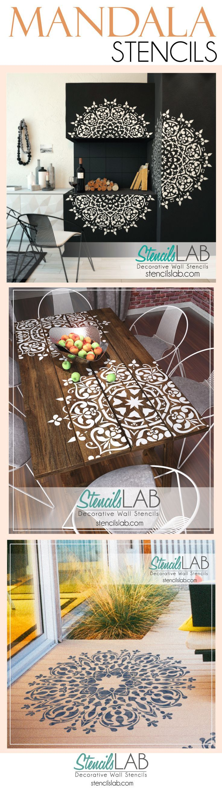 """The word """"mandala"""" is translated from Sanskrit meaning """"circle"""", """"disk"""". We are pleased to introduce this inspiredstencilto adorn yourwalls, furniture, and fabrics. Unleash your imagination and transform your space withreusable mandala style stencil!"""
