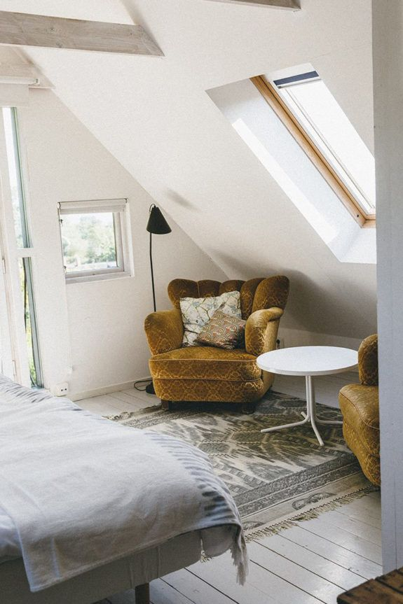 interior, home, attic, velvet armchair, simple, window, bedroom, country