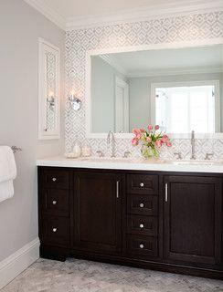 Wall color is Gray Tint from Benjamin Moore. Beautiful bathroom design from Rebecca Loewke Interiors