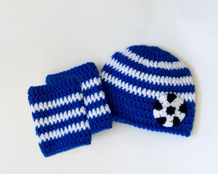 CHELSEA SOCCER Baby Soccer Beanie, Crochet Soccer Baby, Blue White Soccer, CFC Football Baby, Soccer Brazil Baby, Knit Soccer Leg Warmers by Grandmabilt on Etsy