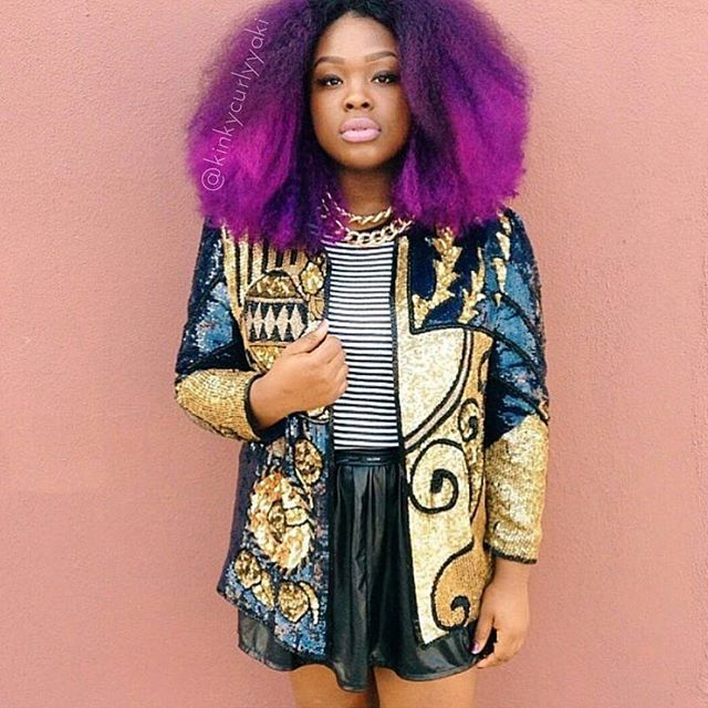 It's not Thursday but #tb to @africancreature wearing #afrokinkycurly made into a haute purple wig! We're loving this color ..what other unique colors would you try on your hair? . . . #naturalhair #naturalhairdaily #kinkychicks #curlsistas #curlsunderstood #4chairchicks #blackgirlmagic #blackgirlsrock #chicnaturalistas: