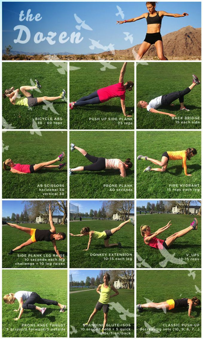 The Dirty Dozen is a staple core routine. It's a small investment of time with a big pay off. Practice this 2-3 times per week to keep your runner body strong and flying fast.