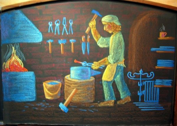 Waldorf ~ 3rd grade ~ Trade ~ Blacksmith ~ chalkboard drawing
