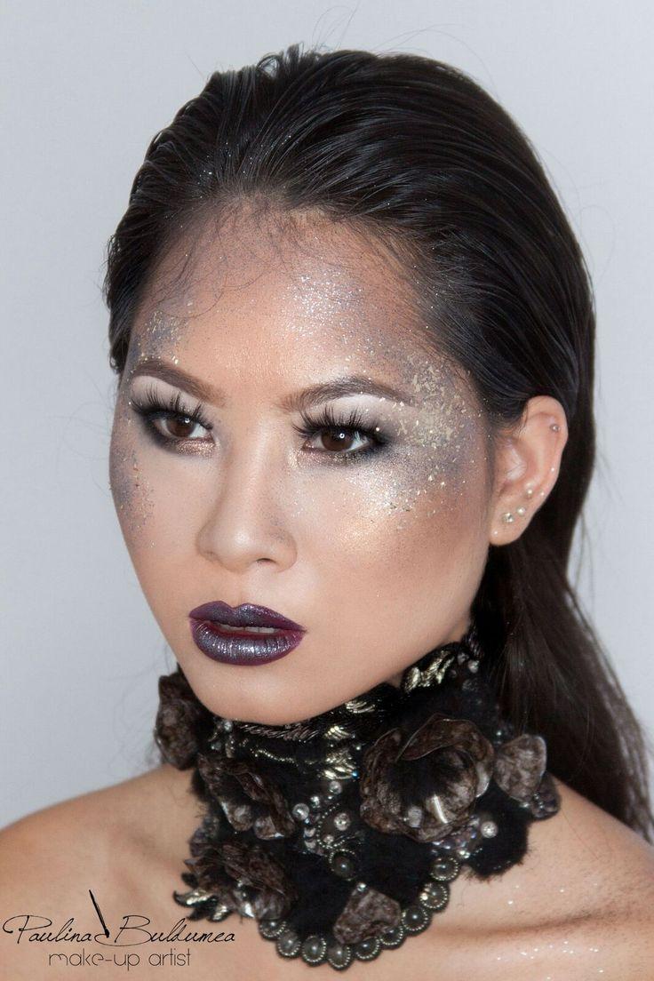 Artistic make-up, glitter make-up, fabulous look, silver glitter look. More glamorous looks in my website: paulinabuldumea.com