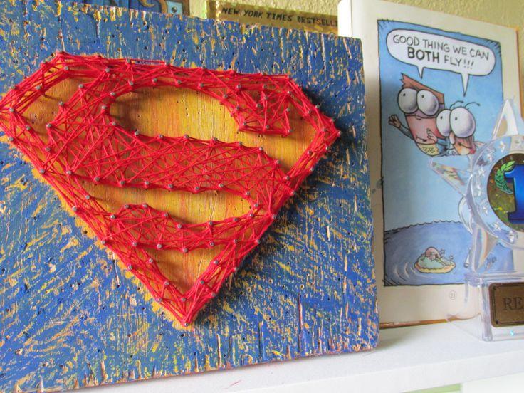 Superman-super hero string art - wall art - home decor - room decor - kids room decor - Superhero decor,  Heroes Artwork, Comic by EileenaArt on Etsy
