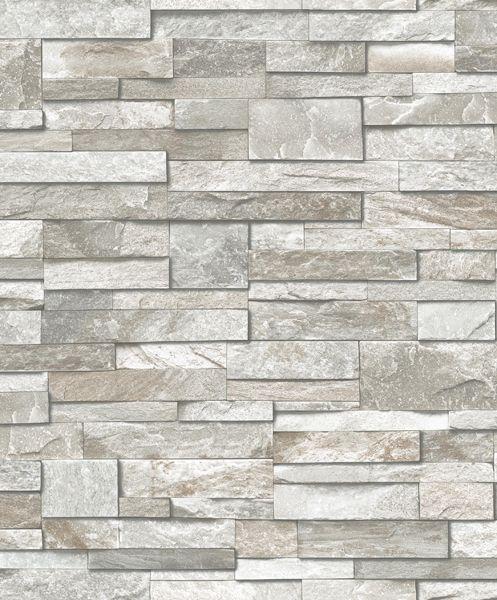 Dutch Wallcoverings Exposed stenen grijs/beige PE08017 - leisteen behang - steen behang - steen in huis - De Behangwinkelier