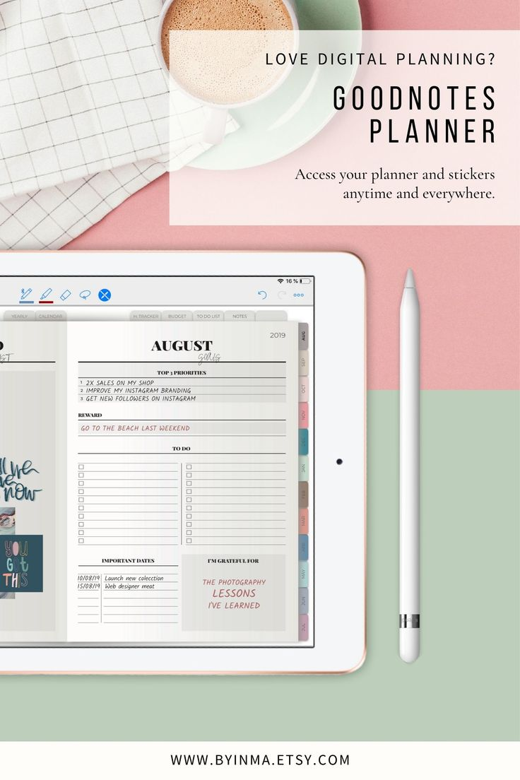 Digital planner goodnotes ipad pro 2020 dated weekly