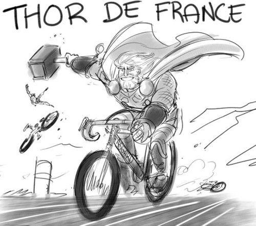 Thor de France!: Laughing, Bike, Comic, Avengers Assembl, Funny Stuff, De France, Humor, Thor De, Superhero