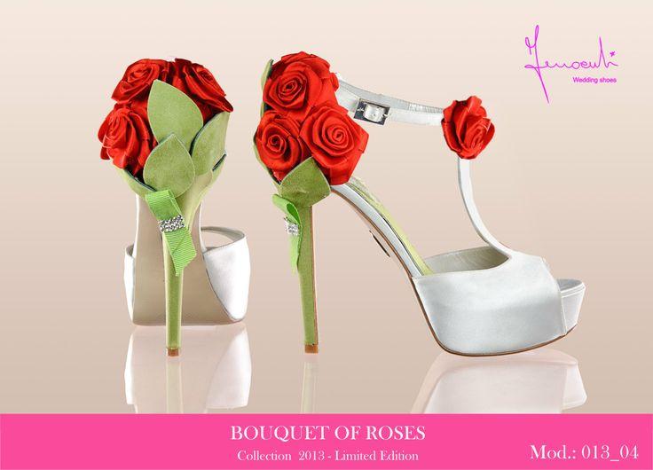 #bouquet di rose rosse #ferracutishoes #scarpe sposa