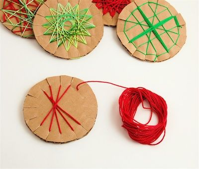 Did this with the kids today - Used card stock and regular yarn.  Fun and easy!!!  Hanging on the tree now!  12/9/2011