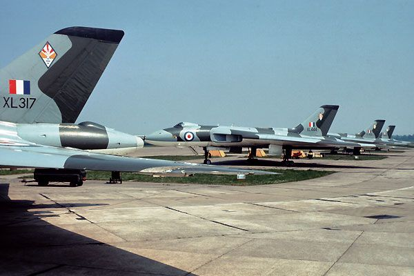 Avro Vulcan B2s XL317, XL444, XL425 & XM595 of No 617 Squadron on the ORP at RAF Cottesmore 1975