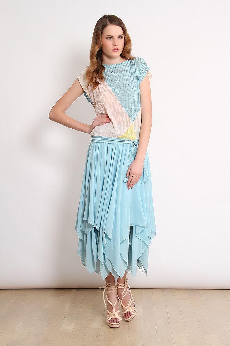 80′ler Mavi Pembe Asimetrik Etekli Vintage Elbise | AU Vintage